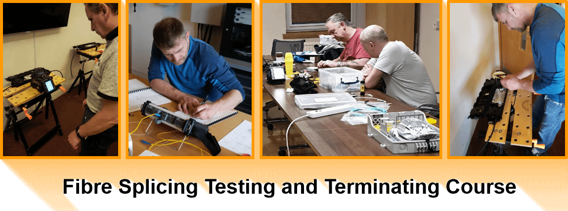 Fibre Optic Training Courses from Opticus showing people involved in the training fusion splicing, OTDR testing, and fibre terminating