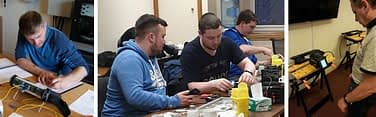 Engineers attending an Opticus fibre optic training course