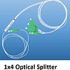 A 1 by 4 way optical splitter showing one input fibre and four output fibres