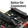 fusion splicer with a splice on connector in position and ready to splice